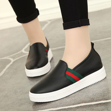 2016 Spring New Pattern Flat Bottom Student Women's Shoes Han Banyuan Head Single Flange Spelling Colour Happiness Single Shoe