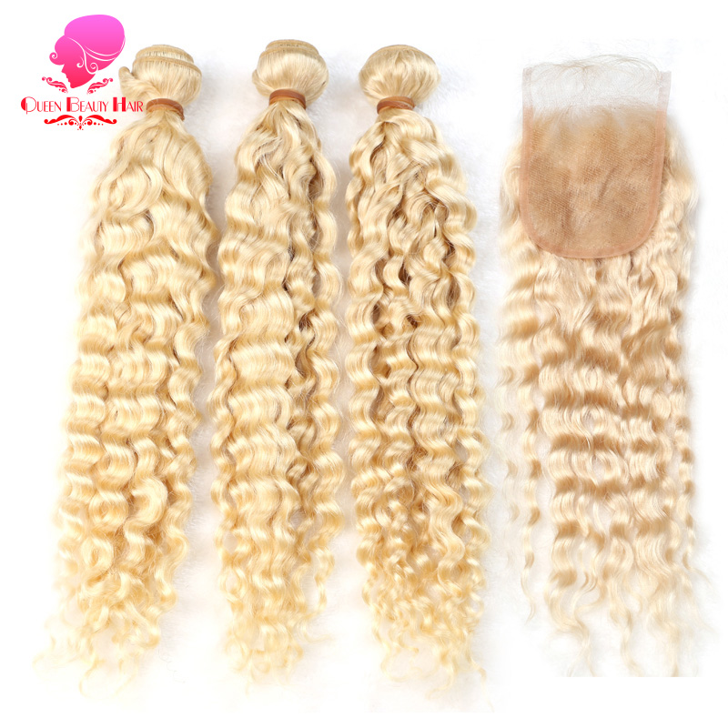 QUEEN BEAUTY 613 Russian Blonde Color Peruvian Hair Deep Wave 2 3 4 Bundles with Closure