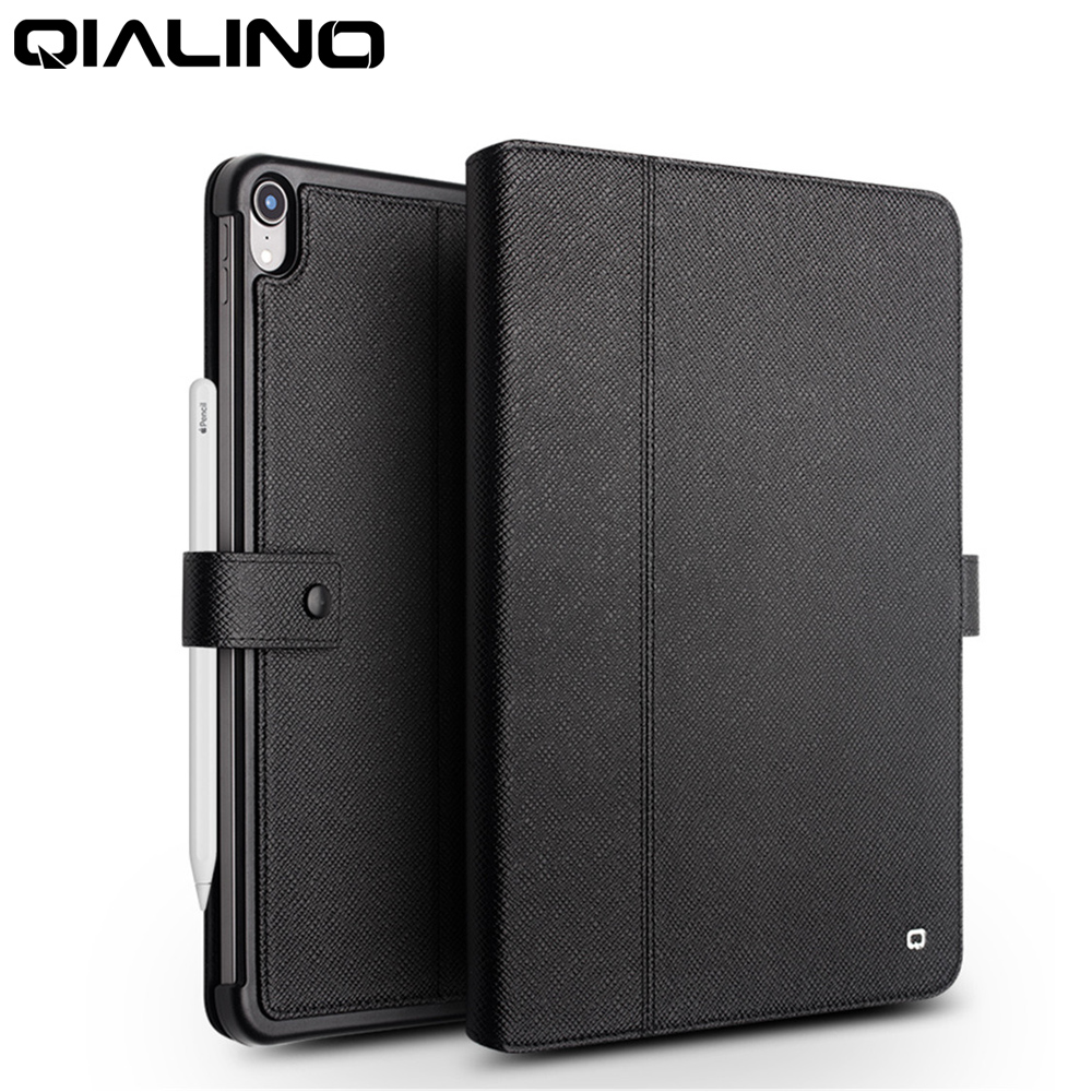 QIALINO Genuine Leather Ultrathin Case For IPad Pro 12.9 2018 Flip Stents Dormancy Stand Cover Card Slot Case For IPad Pro 11