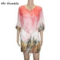 Mr Hunkle Women S Bohemian Chiffon Dress Sashes Full Sleeve Mini Vestidos Summer Autumn Casual Beach