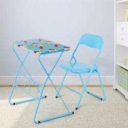 Для дома и школы дети ЖК-доска для записей складной стол-стул комплект синяя картина Детские мебельные гарнитуры HW58953