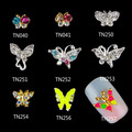 2015 New 10PCS 3D Glitter Alloy Butterfly Nail Art Salon Stickers Tips DIY  Decorations 6F4P