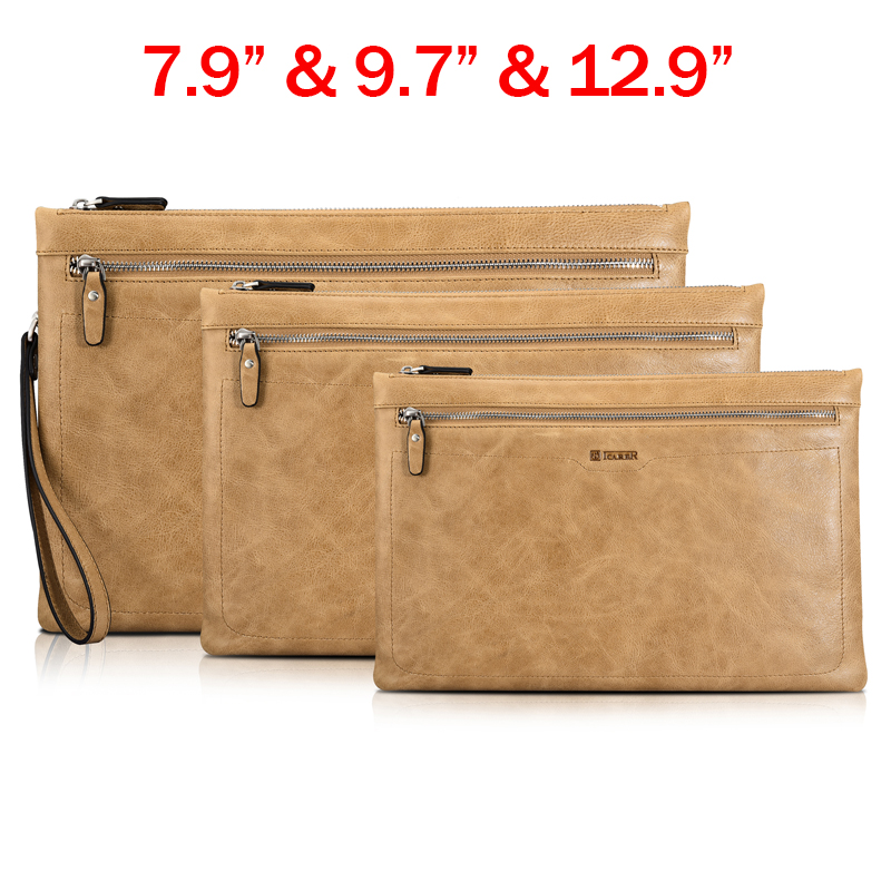 Genuine Leather Wallet Tablet Sleeve Pouch Bag Case For iPad Air 1/2 / iPad Mini 2 3 4/ iPad Pro 9.7 12.9 inch Multi-functional new brand bubm case for ipad air pro 9 7 storage bag for ipad mini tablet 7 9 pouch for 7 9 tablet free drop ship