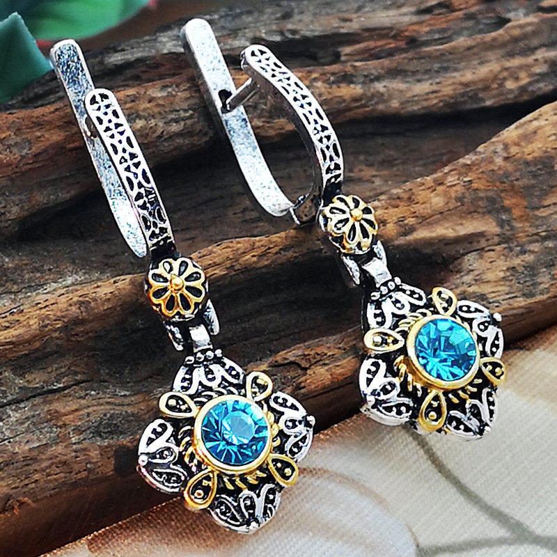 Новинка, винтажные элегантные висячие серьги с голубыми кристаллами и цирконием для женщин, ювелирные изделия, свадебные серьги-капли, серьги для помолвки - Окраска металла: 0259