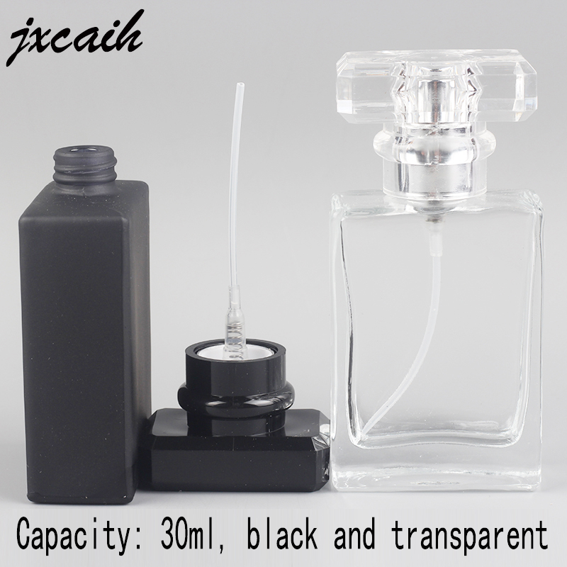 Jxcaih 1Pcs New Flat Square Portable Glass Perfume Bottle Spray Empty And Nebulizer Can Fill Bottle 30 Ml