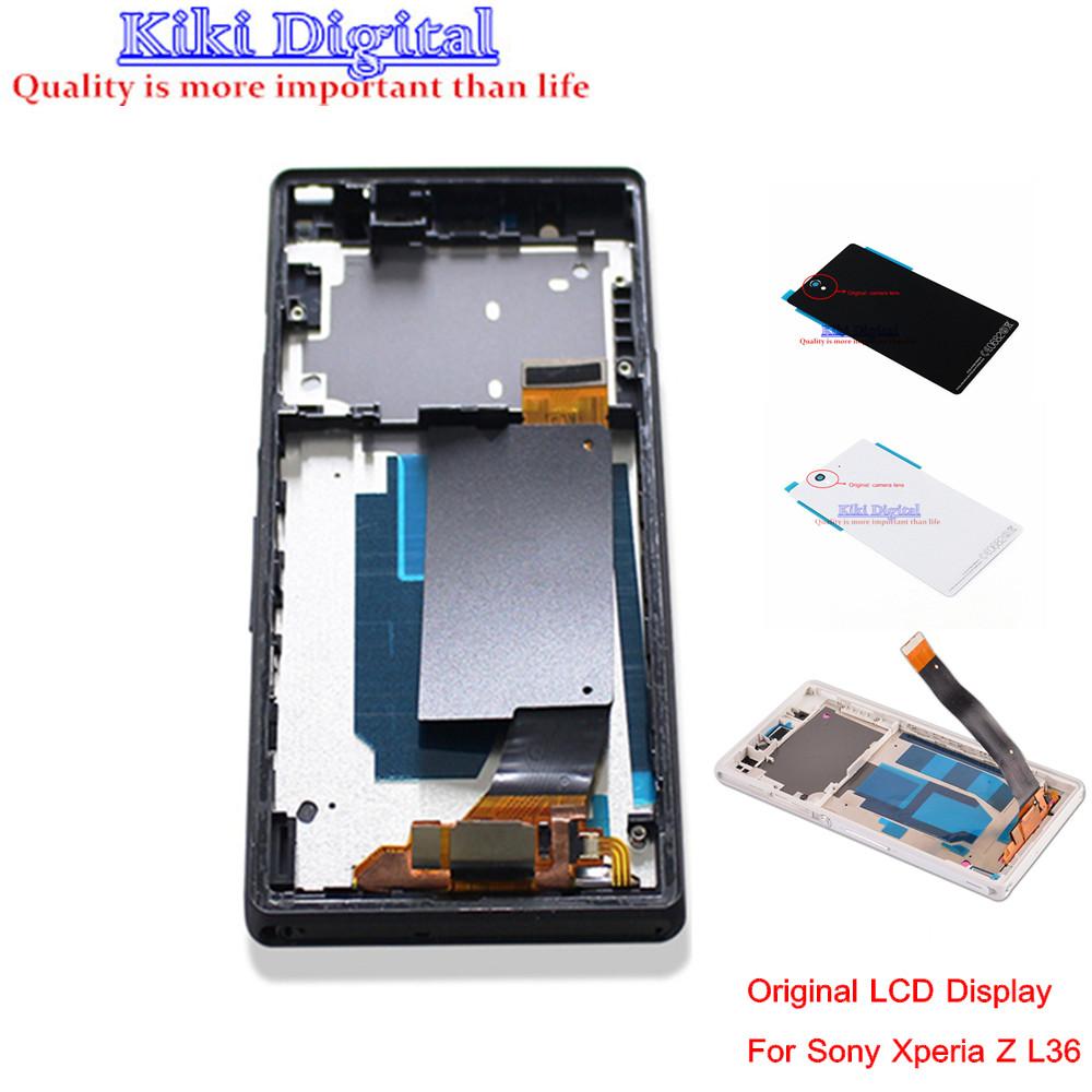 Full LCD Display Touch Screen Digitizer wiht Frame and Battery cover For Sony For Xperia Z