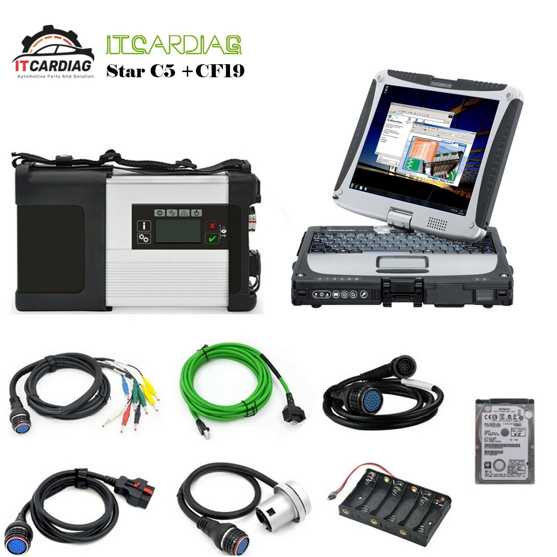 V 2019.09 MB Star SD Connect C5 xentrée Diagnostic WIFI pour Benz multi-langue avec 320GB HDD logiciel complet avec CF-19 d'ordinateur portable