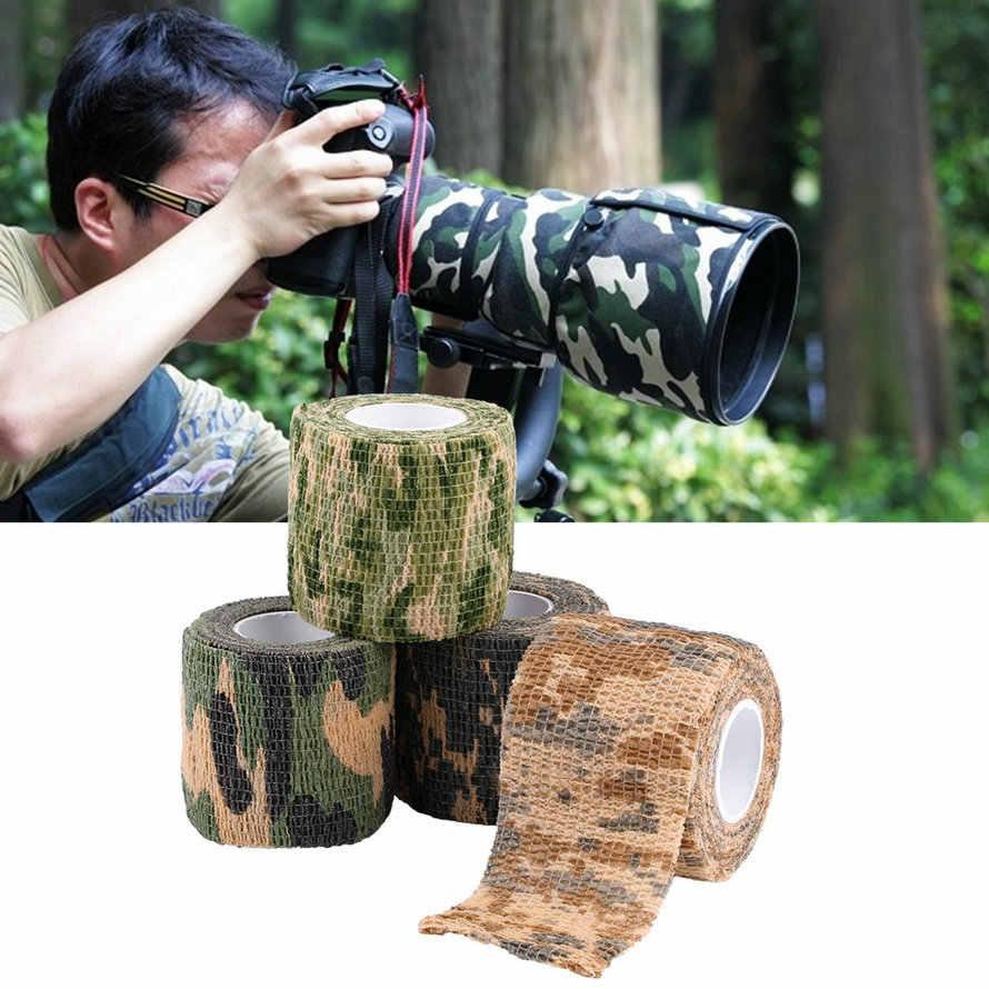 1 個自己接着不織布 5 センチメートル x 4.5 メートル迷彩ラップライフル狩猟撮影サイクリングテープ防水迷彩ステルステープ