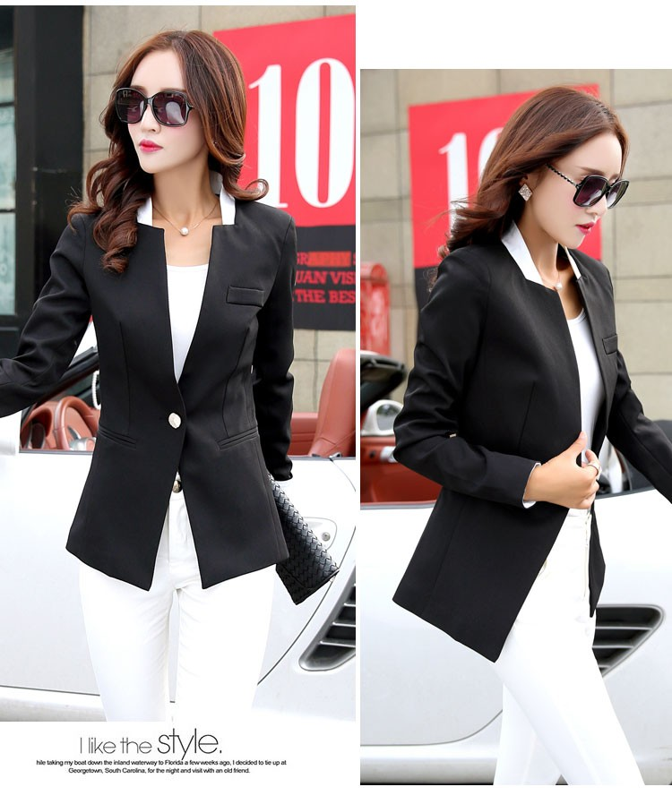 Autumn Spring Chic Office Ladies Stand Collar Blazers Pink Black Jackets For Gentle Women Silm Business Casual Wear Jaqueta Feminina ddd