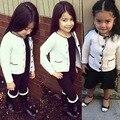 Ins * 2016 niña de punto de algodón suéteres de color crema 1-5Y kids otoño rebeca de la manga completa moda envío gratis