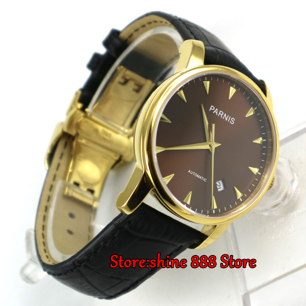 39mm Parnis Men Watch Coffee dial Casual Sapphire Crystal Gold Mark Mechanical Watches Automatic mens watch image