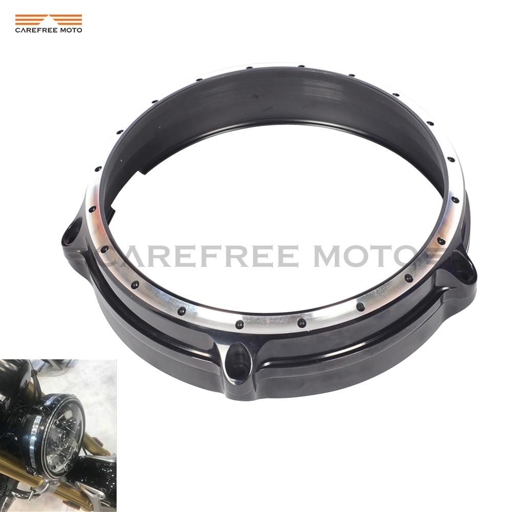 Black Motorcycle Deep Cut 7 Headlight Headlamp Bezel Trim Ring Case for BMW R Nine T 2014 2015 2016 туфли nine west nwomaja 2015 1590