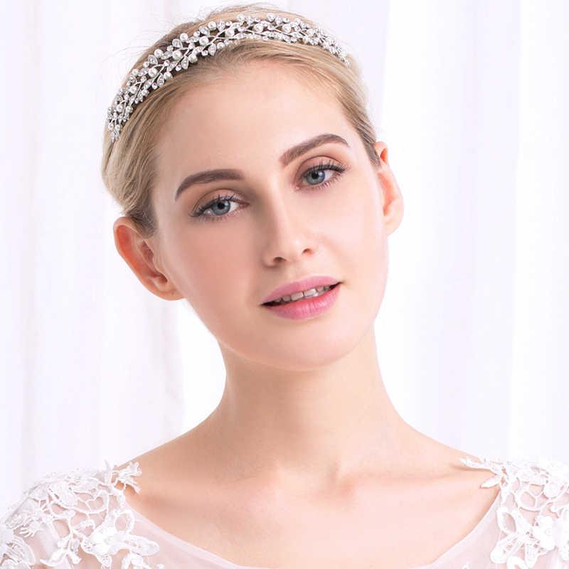 Miallo 20 Pcs/lot Wholesale Mutiara Mahkota Headband Kristal Tiara Pengantin Pernikahan Rambut Perhiasan Daun Putri Mahkota untuk Wanita