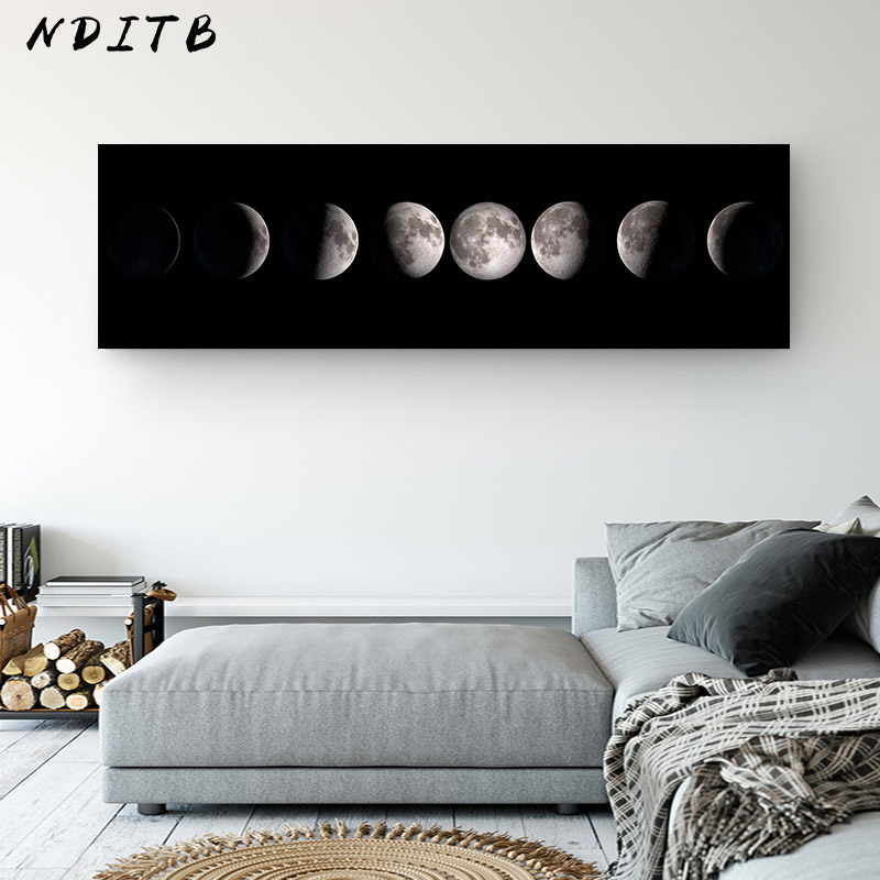Moon Phase Canvas Poster Black White Art Print La Lune Long Painting Nordic Decoration Abstract Wall Picture For Living Room