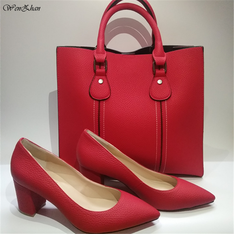 Attractive Red Color Pointed Toe Thick Shoes Matching Women Fashion Big Handbag Top Quality Hot Selling In 7Colors A811-20
