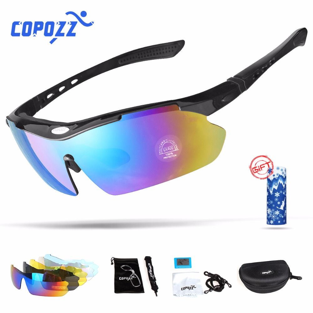 56e0d80d61 Copozz Polarized Cycling Glasses Outdoor Fishing Goggles Eyewear Bike MTB  Bicycle Sun Glasses Sport Sunglasses Myopia 5 Lens