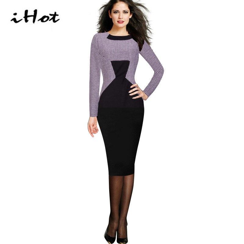 Office Dress Autumn Womens Vintage Long Sleeve font b Tartan b font Black Purple Colorblock Wear