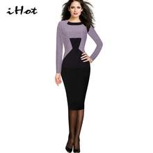 Office Dress Autumn Womens Vintage Long Sleeve Tartan Black Purple Colorblock Wear to Work Sheath Pencil Robe Party vestido 2016