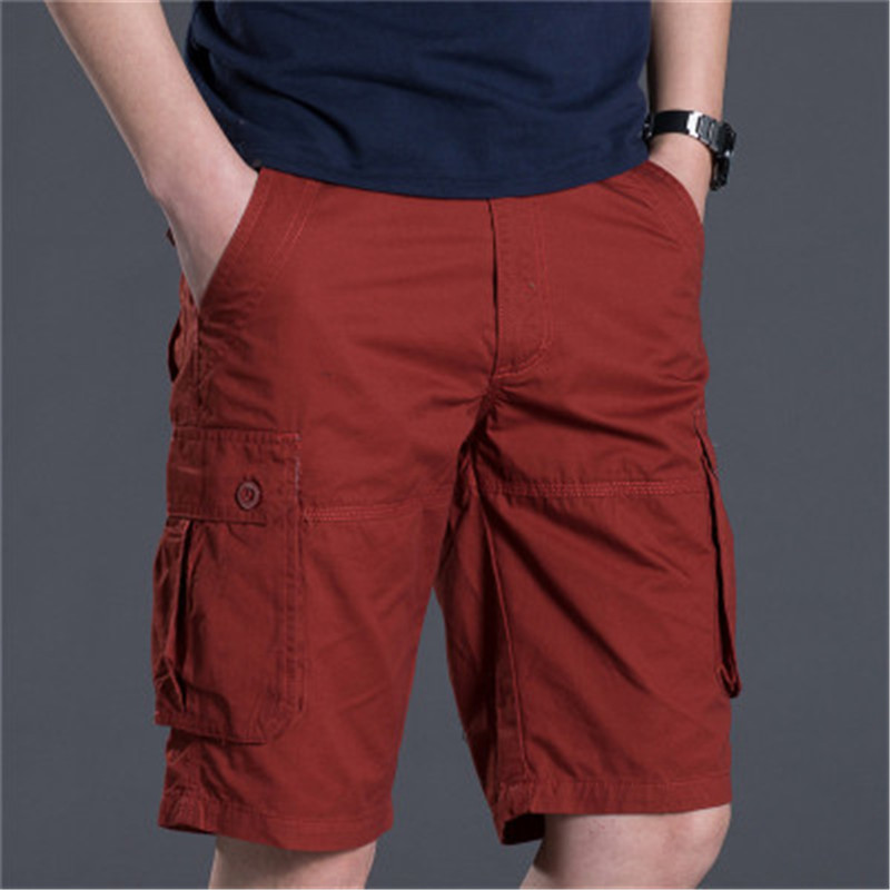 Russia Brand Men Half Shorts Summer Casual Cargo Shorts Loose BIG Multi-Pockets Red Green Knit Cotton Solid Color Long Trousers