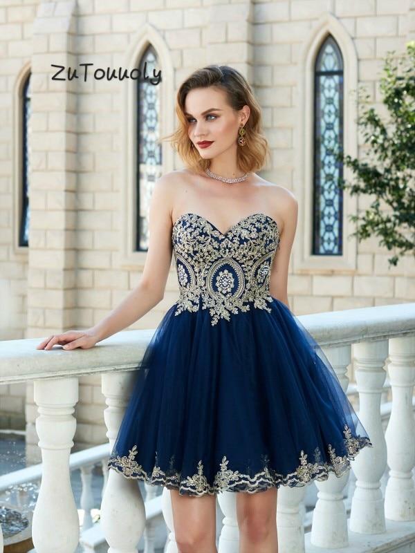 Teal Blue Korte Avondjurken Uk EEN Lijn Sweetheart Gold Applicaties Prom Jassen Zomer Outfits Sexy Vrouwen Diner Jurk 2019