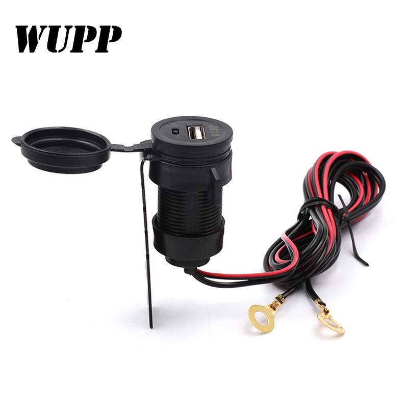 Universal Car Charger USB Motorcycle Scooter Vehicle DC 12V-24V Waterproof USB Charger Power Socket 5V 2.1A High Quality