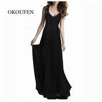 OKOUFEN 2017 Maxi D'été Plaid Femmes Dress Nouvelle Longue Organza jour Dress Vestidos De Festa Satin style De Mode noir femmes robes