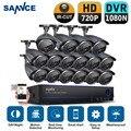 SANNCE 16CH 720P CCTV Security Camera System with 16pcs 1200tvl waterproof CCTV Cameras 1080N DVR Video Surveillance kit HDD