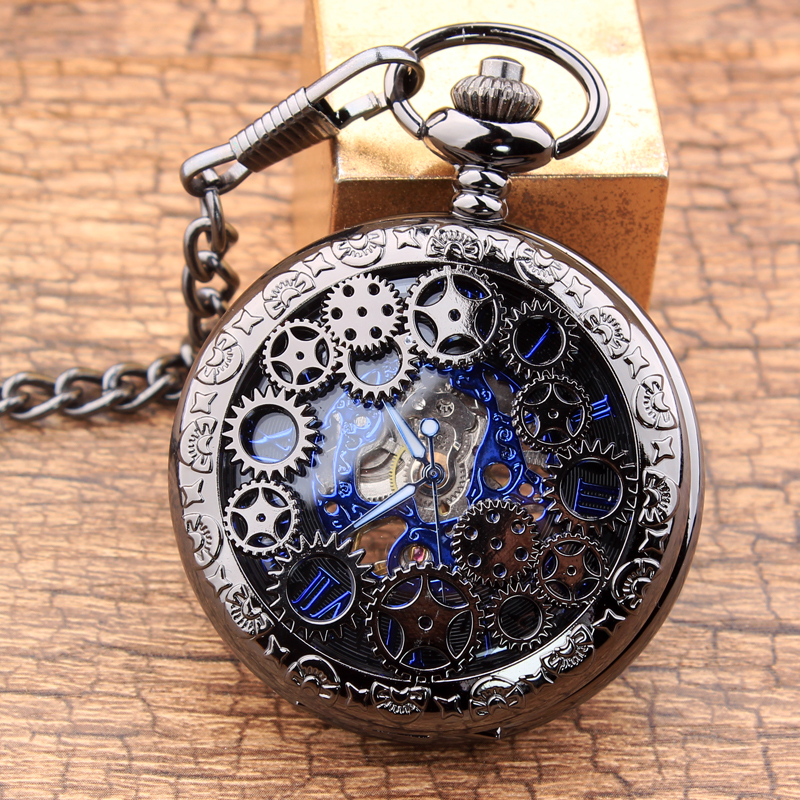 Vintage Steampunk Gears Hollow Bronze Mechanical Pocket Watch Hand Wind Skeleton Necklace Clock Men Womens Gifts hot free shipping bronze tiger hollow quartz pocket watch necklace pendant chinese zodiac 12 carving back womens men gifts p251