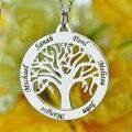 Venta al por mayor Árbol Genealógico Collar Círculo Grabado Nombre Collar de Plata de ley Joyería Mamá Mamá Collar de Regalo para Su Familia