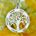 Wholesale Family Tree Necklace Engraved Circle Name Necklace Sterling Silver Mum Mom Necklace Present for Her Family Jewelry