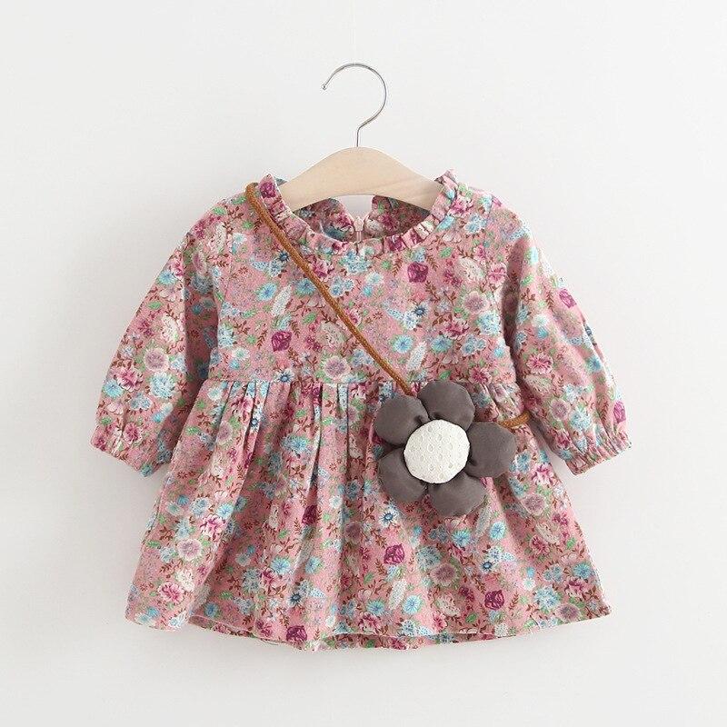 Spring Autumn Long Sleeve Baby Girls Kids Vintage Flora Dresses Princess Infants Tutu O neck Dress