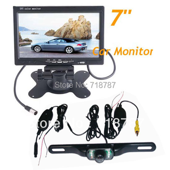 "Waterproof License plate Wireless IR Reverse Camera + 7"" LCD Monitor Car Rear View Kit 5pcs/lot"