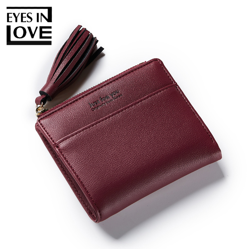 Eyes In Love Tassel Short Women Leather Wallet Casual Simple Bags For Teenager Girls Card Holder Zipper Coin Pocket Female Purse цена и фото