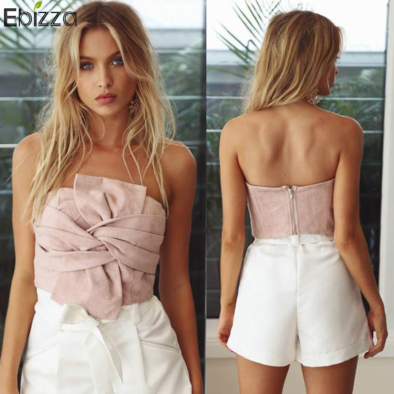 Ebizza Suede Off Shoulder Crop Top Bow Tie Slash Neck Sleeveless Short Tank Tube Top Summer Women Zipper Bustier Shirts Blusa