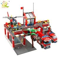 KAZI Building Blocks City Fire House Construction Scale Model Toys For Children Enlighten Educational Toys For