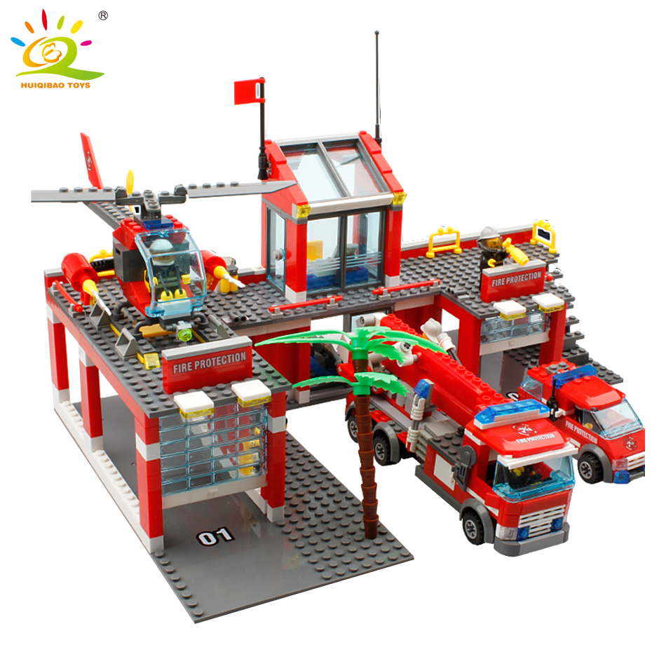 774st Fire Station Building Blocks set Kompatibel legoedstad Byggnad Brandman Bricks Barn Upplys Leksaker För Barn