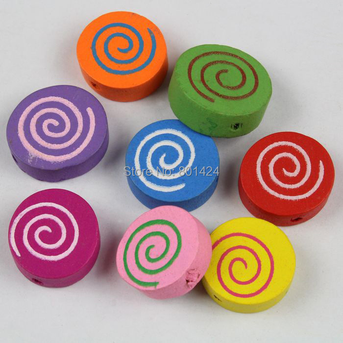 40pieces 32-79 mixed colour 16mm paint screw thread coin wooden beads craft accessores for children jewelry