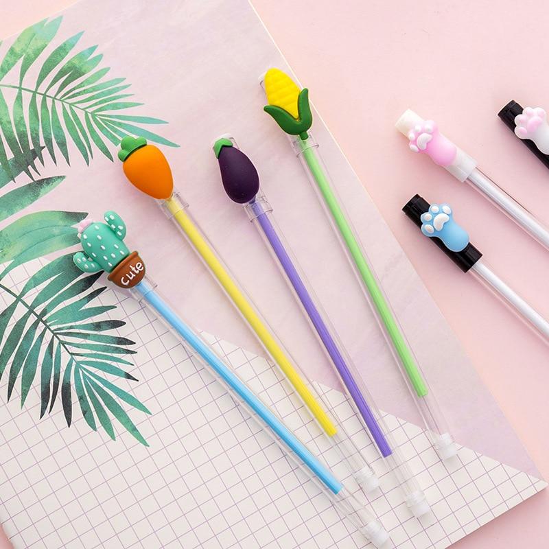 1 Pcs Cute Vegetables Cat Claw Gel Pen School Kawaii Writing Gift Stationery Escolar Student Office Signature Pens Supplies