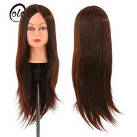 24 30% Real Human Hair Mannequin Head Hairdressing Cutting Braiding Practice Head + Clamp Holder Salon Hair Training Head Tool