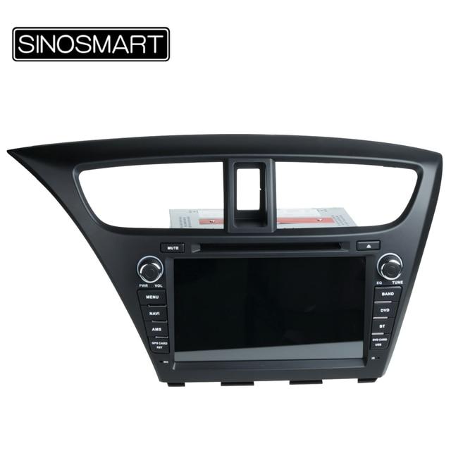 SINOSMART Android 6.0 1G RAM GPS De Navegação Do Carro DVD Para Honda Civic  Hatchback 2014