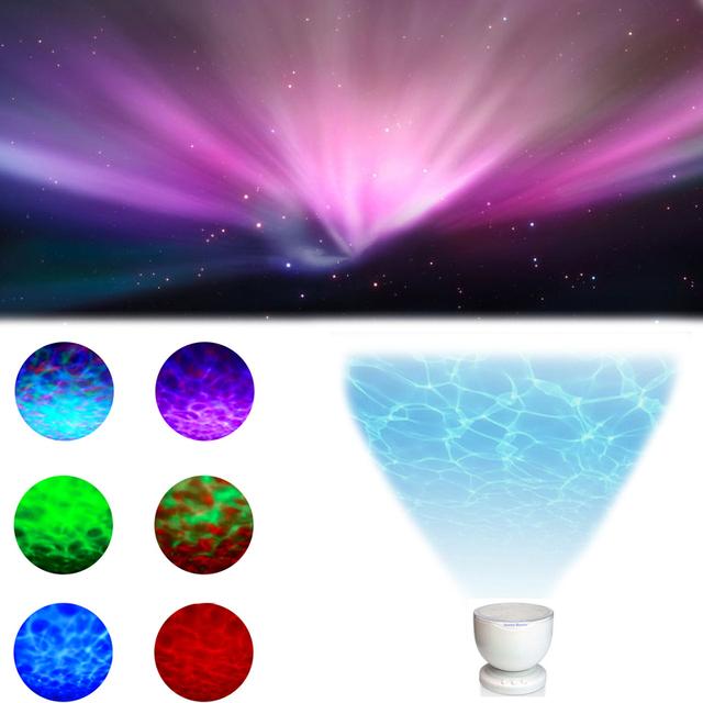 Íris Aurora Luzes Lâmpada Do Projetor & Mini Alto-falantes Alto-falantes Ondas Led Nightlight luz Mestre Noite Colo Do Presente Do Natal Presente