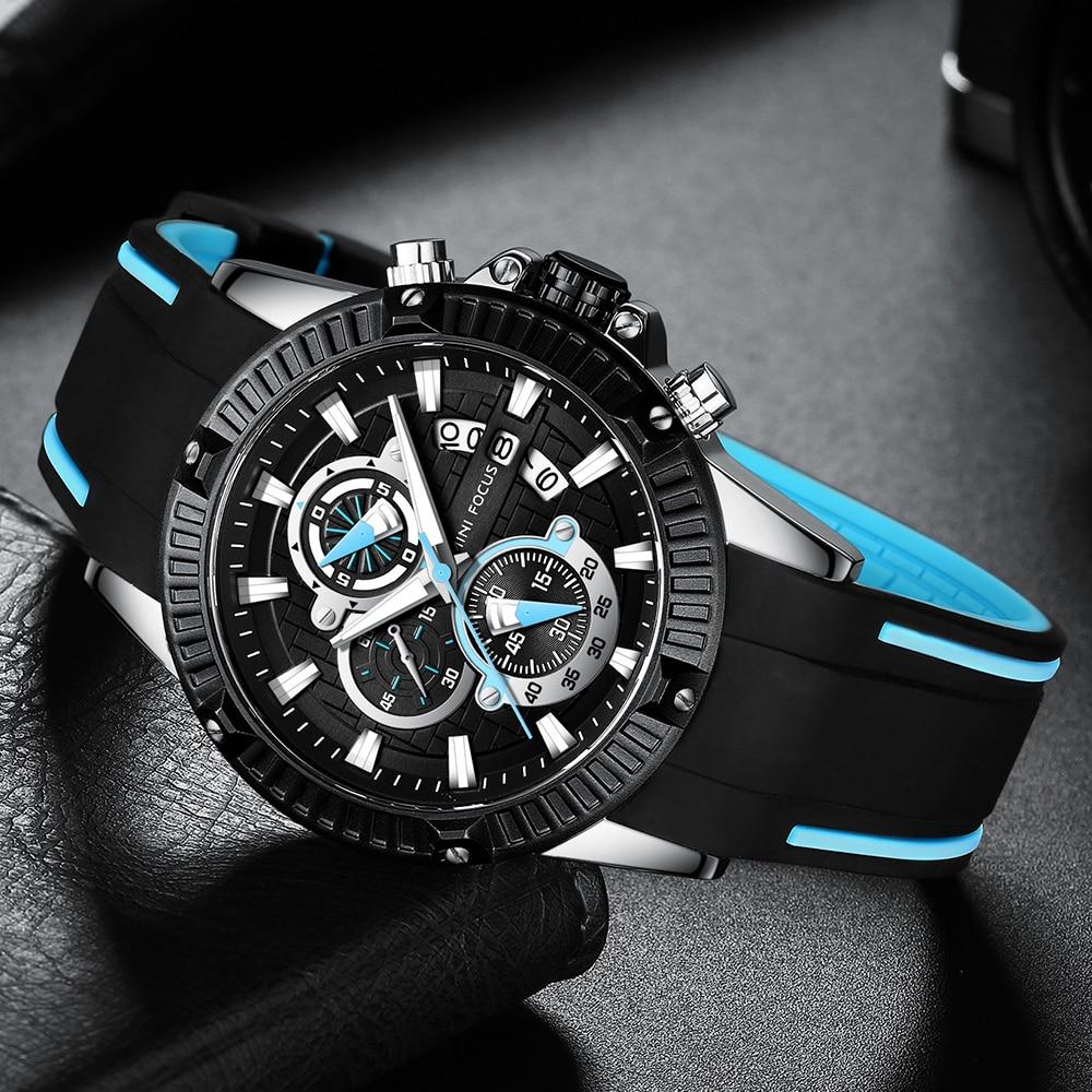 MINI FOCUS Quartz Watches For Men Silicone Strap Army Sports Chronograph Wrist Watch For Man Clock Relogios Masculino 0244G0.3