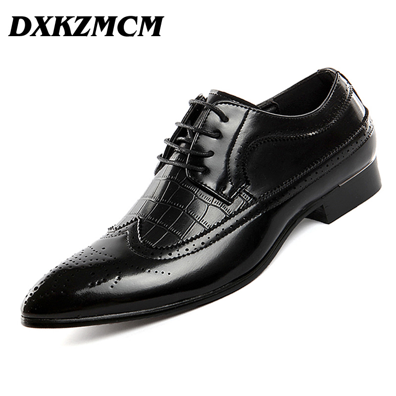 DXKZMCM Men Pu Leather Designer Mens Pointed Toe Dress Shoes Classic Formal Oxford Shoes For Men Footwear Wedding