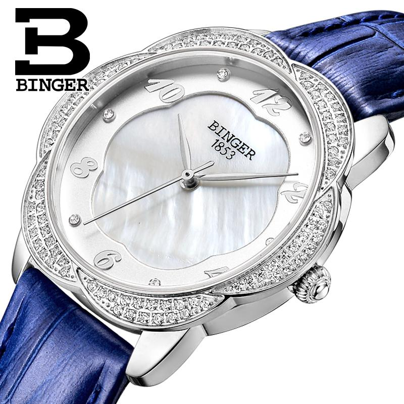 Switzerland Binger Womens watches Diamond Luxury top Brand Untra-thin clock leather strap quartz waterproof Wristwatches B3028Switzerland Binger Womens watches Diamond Luxury top Brand Untra-thin clock leather strap quartz waterproof Wristwatches B3028