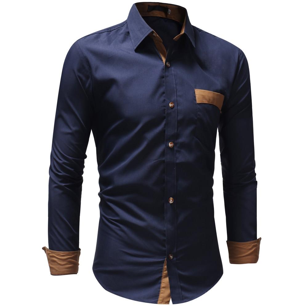 Hot Sale Men Shirts 2018 Brand Casual Slim Solid Long Sleeve Shirt