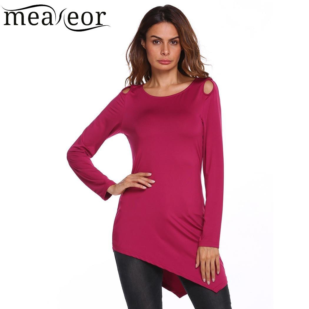 c13bb75d3aba7 Meaneor Long T Shirt de Femmes Ourlet Asymétrique Solides Manches Longues  Tops Automne Trou Dames T shirt Pull Mince T shirts Femme T shirts dans T- Shirts ...