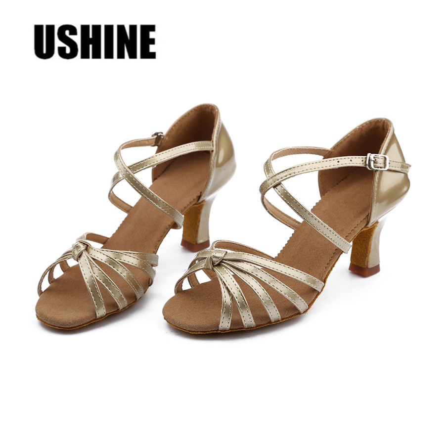 Hot Sale Ggolden Silver PU Latin Dance Shoes Woman Ballroom Dancing Shoes Zapatos De Baile Latino Mujer