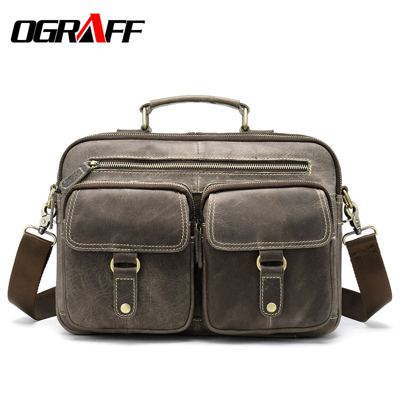 OGRAFF Large Messenger Bag Men Leather Briefcase Laptop Crossbody Bag Genuine Leather Shoulder Bag Handbag Tote