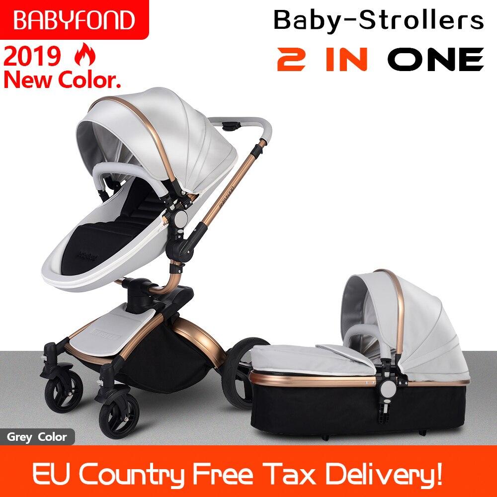 Babyfond Carrinho De Bebê 360 rotate moldura dourada 2 em 1 incluindo dormir cesta de carro do bebê carrinho de bebê de Couro de Certificação DA UE