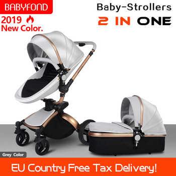 Cochecito de bebé Babyfond 360 Girar marco dorado coche de bebé 2 en 1 incluyendo cesta de dormir de cuero cochecito de bebé certificación UE